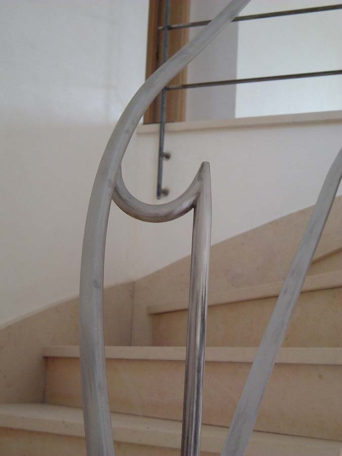 détail de rampe inox