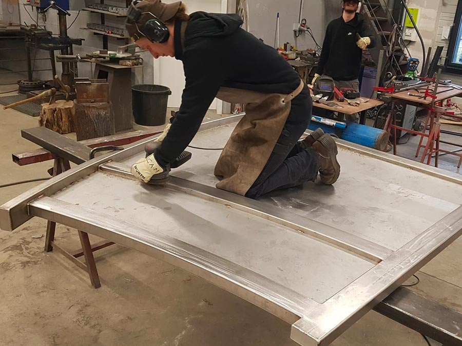 fabrication en atelier d'un garde-corps inox