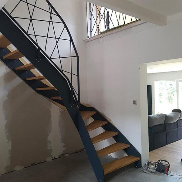 pose d'escalier bois metal
